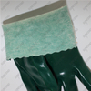 Chemical resistant green smooth PVC fishery gloves with interlock cotton liner