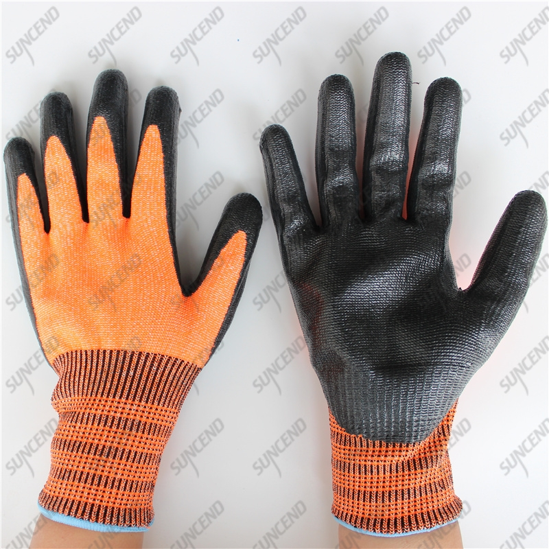 HPPE cut resistant level 5 matte smooth black nitrile coated safety gloves